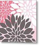 Pink White Grey Peony Flowers Metal Print