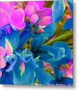 Pink With Blue Irises Metal Print