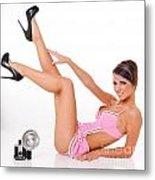 Pinup Girl In Pink Metal Print