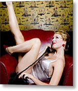 Pinup Girl With Phone Metal Print