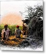 Pipe Smoking Ritual Chillum India Rajasthan 2 Metal Print