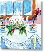 Pipers Sipping Christmas Tea Metal Print