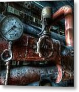 Pipes And Clocks Metal Print