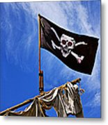 Pirate Flag On Ships Mast Metal Print