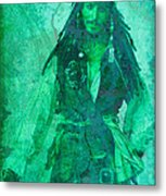 Pirate Johnny Depp - Shades Of Caribbean Green Metal Print
