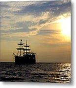 Pirate Ship At Sunset Metal Print