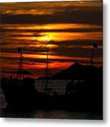 Pirate Ship At Sunset Metal Print by Robert Bascelli