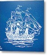 Pirate Ship Blueprint Artwork Metal Print