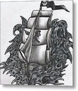Pirate Ship Bw Metal Print