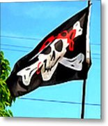 Pirate Ship Flag Of The Skull And Crossbones Metal Print
