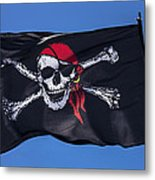 Pirate Skull Flag With Red Scarf Metal Print