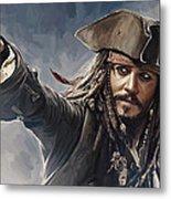 Pirates Of The Caribbean Johnny Depp Artwork 2 Metal Print