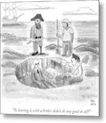 Pirates Stand Around A Dug Up Treasure Chest Metal Print