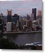 Pittsburgh Aerial Skyline At Sunset 3 Metal Print