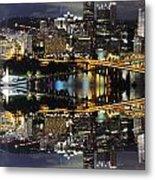 Pittsburgh Dusk Reflection 2 Metal Print