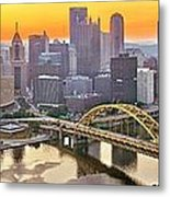 Pittsburgh Incline Sunrise Panorama Metal Print