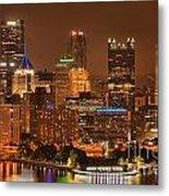 Pittsburgh Lights Under Cloudy Skies Metal Print