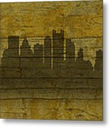 Pittsburgh Pennsylvania City Skyline Silhouette Distressed On Worn Peeling Wood No Name Version Metal Print