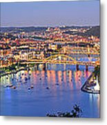 Pittsburgh Pennsylvania Skyline At Dusk Sunset Extra Wide Panorama Metal Print