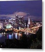 Pittsburgh Skyline At Night From Mount Washington 3 Metal Print