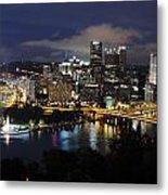 Pittsburgh Skyline At Night From Mount Washington 4 Metal Print
