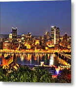 Pittsburgh Skyline At Night Metal Print
