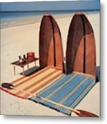 Pixie Collapsible Boat On The Beach Metal Print