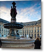 Place De La Bourse Buildings At Dusk Metal Print