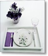 Place Setting With With Flowers Metal Print