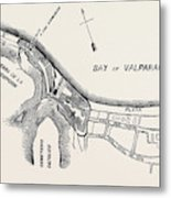 Plan Of Part Of The City Of Valparaiso Metal Print
