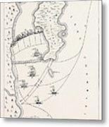 Plan Of The Defeat Of The American Fleet, Under Benedict Metal Print