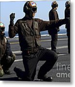 Plane Captains Signal For The Start Metal Print