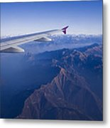 Plane Flying In Mountain Metal Print