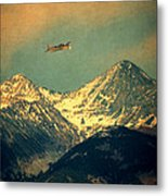 Plane Flying Over Mountains Metal Print