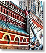 Plane In The City Metal Print