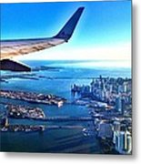 Plane Over Miami Metal Print