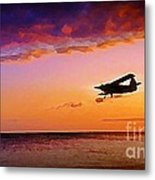 Plane Pass At Sunset Metal Print
