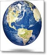 Planet Earth On White - America Metal Print by Johan Swanepoel