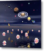 Planets Of The Solar System Surrounded Metal Print