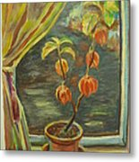 Plant In A Window Metal Print by Ellen Howell