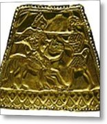Plaque With Scythian Warriors. Gold Metal Print