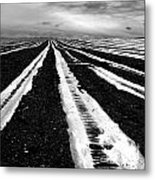 Plastic Tarp In A Field. Auvergne. France Metal Print