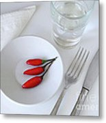 Plate Of Chilies  Metal Print