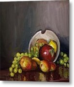 Plate With Fruit Metal Print