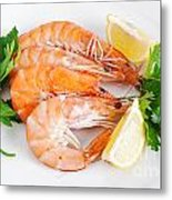 Plate With Shrimps  Metal Print
