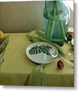 Plates, Apples And A Vase On A Green Tablecloth Metal Print
