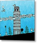 Playful Tower Of Pisa Metal Print by Gianfranco Weiss
