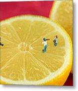 Playing Baseball On Lemon Metal Print