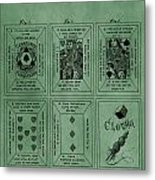 Playing Cards Patent Green Metal Print