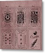 Playing Cards Patent Red Metal Print